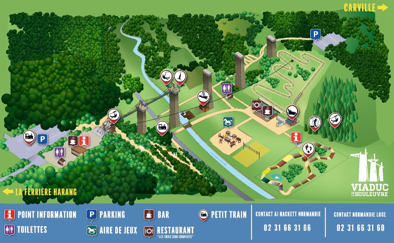 plan du parc de loisirs Normandie Luge